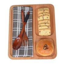 Wooden Dinnerware Fruit/ Meat/ Dessert Dishes Dinner Plate 26 X 21 CM