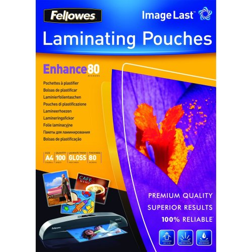 Fellowes ImageLast A4 80 Micron Laminating Pouch - 100 pack laminator pouch