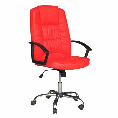 Luxury Black PU Computer Swivel Chair in Red