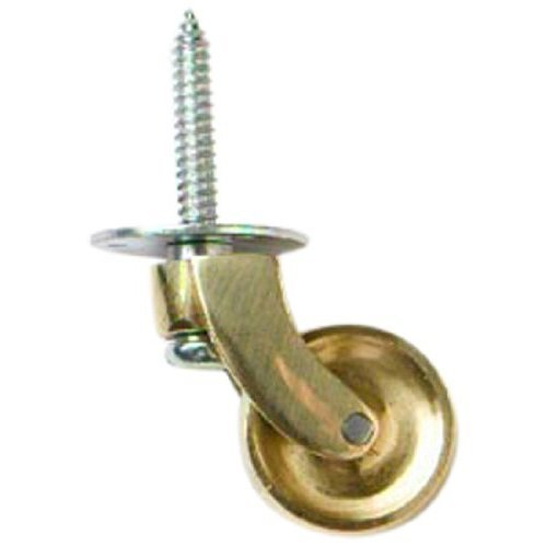Bulk Hardware BH01574 Brass Castor Caster Wheels Stem Screw In Type Polished Brass