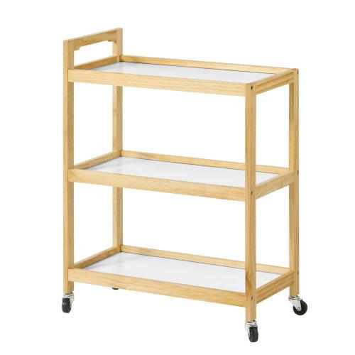 SoBuy® FKW34-WN, 3 Shelves Serving Trolley on Wheels Kitchen Trolley