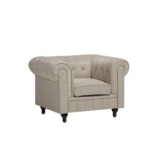 Fabric Armchair Beige CHESTERFIELD Big