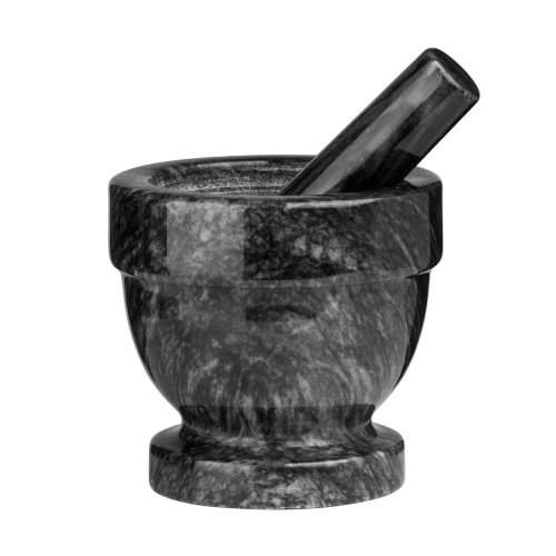 Mortar and Pestle Black Marble Crush Grind Herbs Spices
