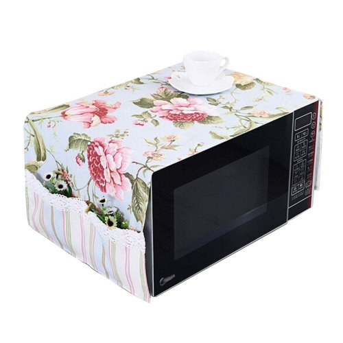 [Blue] Floral Print Microwave Oven Dust Cover Dustproof Cloths with Pockets