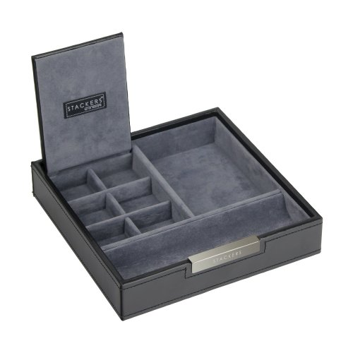 Stackers Mens Black Square Valet Watch & Cufflink Stacker with Grey Velvet Lining