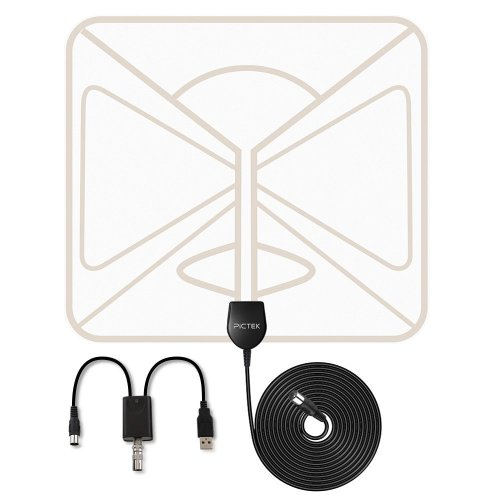 TV Aerial - Pictek Indoor TV Aerial Super Thin Amplified 50 Miles Range Digital HDTV Antenna with Detachable Amplifier Signal Booster, 10feet Long...