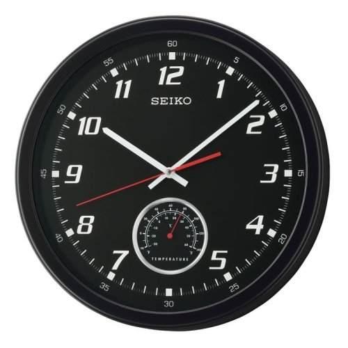 Seiko QXA696K Wall Clock with Thermometer - Black