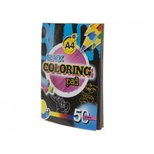 A4 Black 50 Sheet Paper Drawing Pad -  a4 kids black paper drawing create colour pad 50 sheets art craft halloween 2 x
