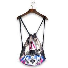 Fashion Street Harajuku Style Drawstring Backpack Sports Travel Adjustable Bag F