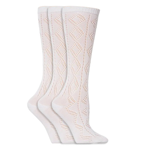 Girls White Knee High Pelerine School Socks (Pack Of 3)