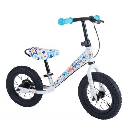 Kiddimoto Super Junior Max Metal Balance Bike - 18 Month to 5 Years - The Easiest Way To Teach Kids To Ride - Stars