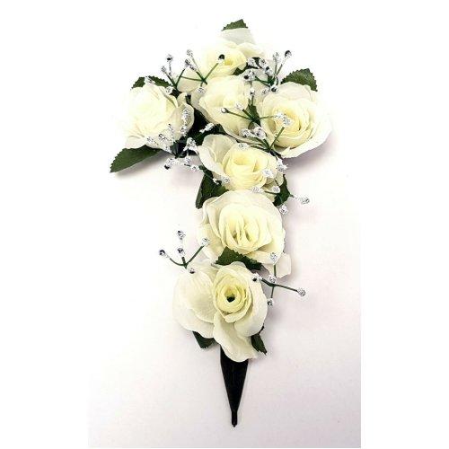 White Artificial Rose & Gypsophila Flower Cross - 26cm - Memorial & Grave