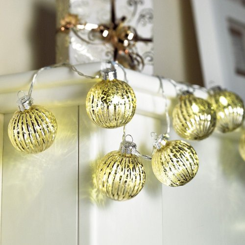 Sentik 10 LED Battery Powered Shimmering Glass Bauble Garland Indoor Fairy Lights Gold