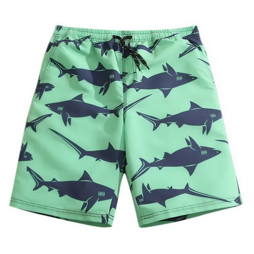 Men's Sports Casual Beach Loose Fashion Shorts, Green And Sharks
