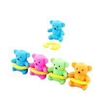 10 Pieces Of Fashion Cute Cartoon Erasers Bears With Hula Hoop Modeling