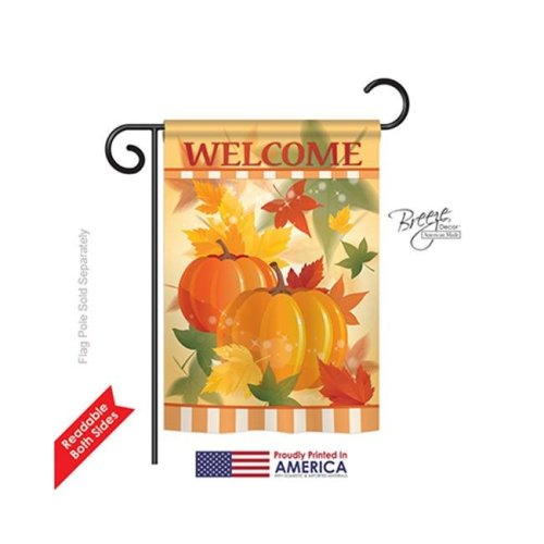 Breeze Decor 63038 Harvest & Autumn Welcome Fall Pumpkins 2-Sided Impression Garden Flag - 13 x 18.5 in.