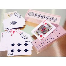 Double six giant wooden dominoes with pack of giant playing cards 00131