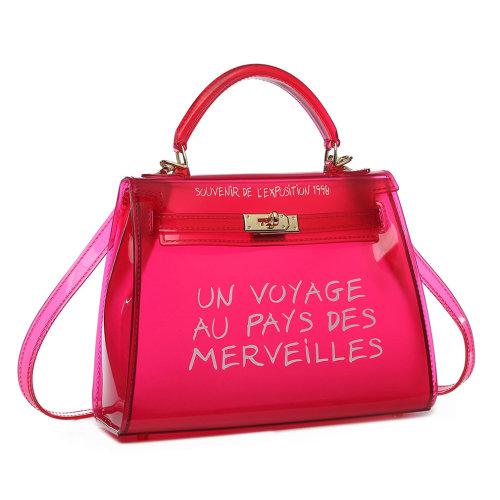 Miss Lulu Women Clear Transparent PVC Shoulder Bag Handbag Solid Candy Color Jelly Bag Red