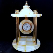 Onyx Marble and Brass Clock Ornament