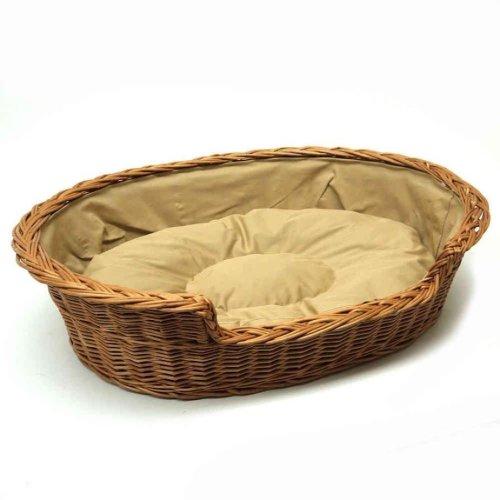 Medium Willow Dog Cat Pet Wicker Basket Light Colour Cushion
