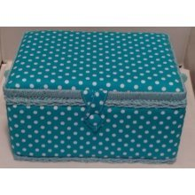 HobbyGift Medium Sewing basket - Blue Polka Dot - 26.5 x 19.5 x 14cm