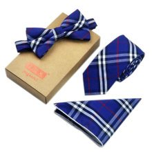 Men's Elegant Plaid Pattern Wedding Ties Set Necktie/Bow Tie/Pocket, Blue