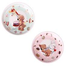 Set Of 2 Ceramic Cartoon  Animal Round  Dishes  Chicken Dishes,Green&Pink