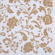4 x Paper Napkins - Arabesque White & Gold  - Ideal for Decoupage / Napkin Art