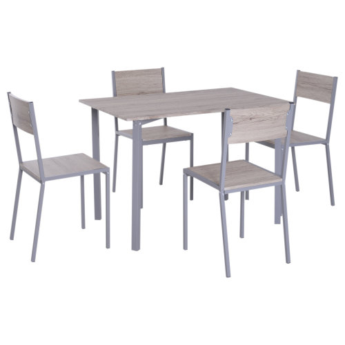 HOMCOM 5pcs Wood Table Chair Dining Set Compact Kitchen Bar Home Furniture