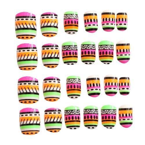 24 Pcs Fashion Nails Stickers Beautiful Nail Decorations False Nails Tips [A]