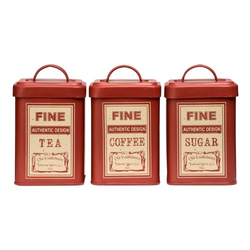 Set of 3 Whitby Tea Coffee Sugar Canisters - Red