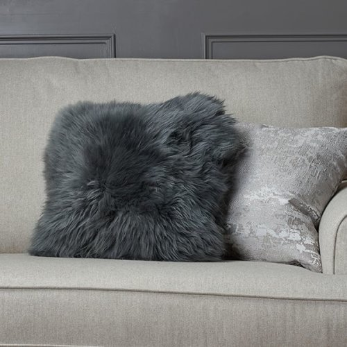 New Zealand Grey Doubled-Sided Sheepskin Cushion 35cm x 35cm
