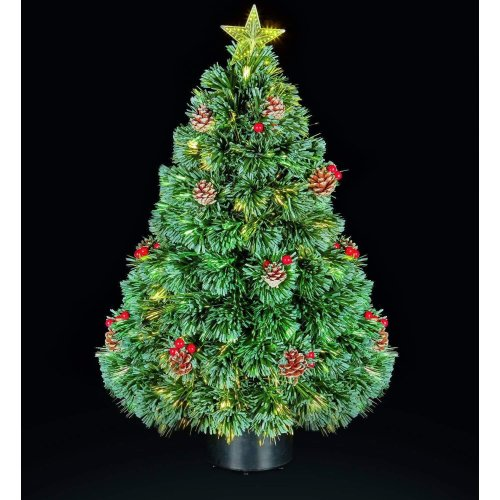 Xmas Festive 80cm Fibre Optic Lights Christmas Tree w Cones & Berries