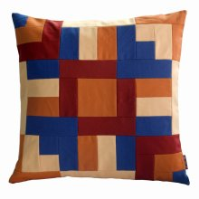 Decorative Patchwork Pillow 48x48cm | Colour Block Pattern Throw Pillow
