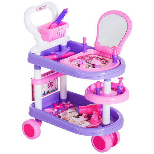 HOMCOM 32 PCS Kids Girls Role Play Toy Dresser Trolley Vanity Beauty Cosmetics Set Pretend Hair Dryer Makeup - Purple & Pink