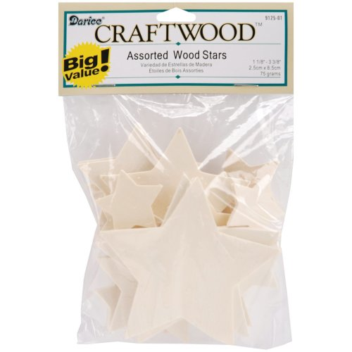 """Wood Turning Shapes-Assorted Stars 1.125"""" To 3.375"""" 32/Pkg"""