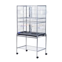Pawhut Rolling Bird Cage Large Pet House Mobile Stand Station 2 Doors 4 Wheels W/ 2 Perches & 2 Feeding Trays
