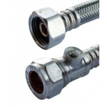 "Oracstar Flexi Tap Connector 15mm x 1/2"" x 50cm + Iso Valve 9.5mm -  x oracstar flexi tap connector 15mm 12 50cm iso valve 95mm"