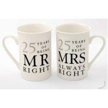 25th Silver Wedding Anniversary Mugs Gift Set WG67725