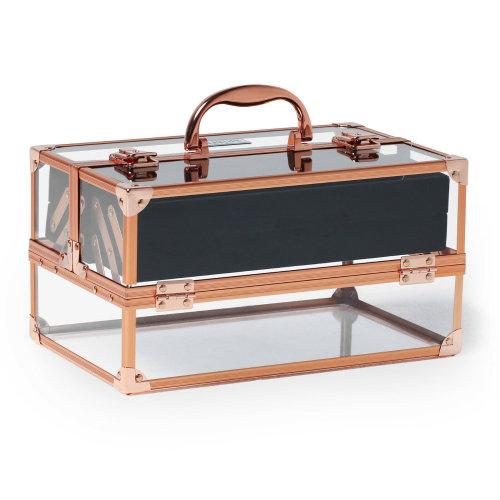 HOMCOM Makeup Cosmetic Case Lockable Storage Box Vanity Unit Acrylic & Aluminium  Lightweight Travel w/ Handle Keys  5 Compartments   Rose Gold