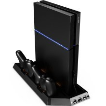 ZedLabz dual cool vertical console stand and controller charging dock for Sony PS4 - black