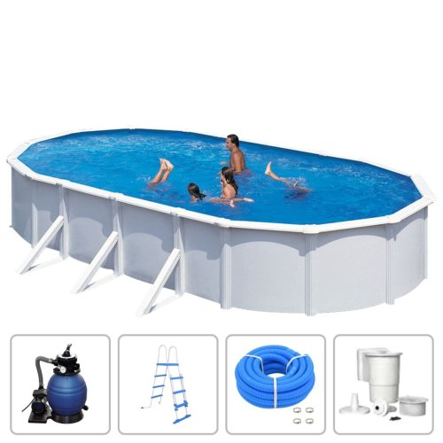 KWAD Swimming Pool Set Oval 7.3x3.6x1.2m Steely Deluxe Above Ground Centre