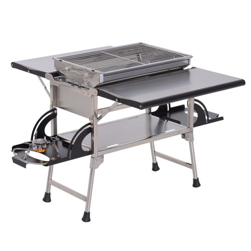 Outsunny 2 in 1 Gas Charcoal BBQ Grill Folding Picnic Table Burner Grill Camping Outdoor Garden Kitchen