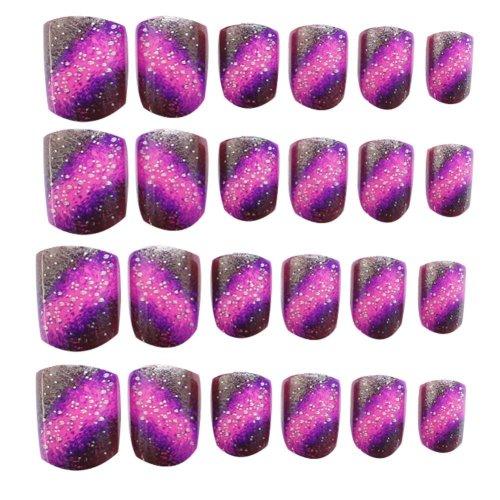 24 Pcs Fashion Nails Stickers Beautiful Nail Decorations False Nails Tips [N]