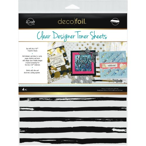 "Deco Foil Clear Toner Sheets 8.5""X11"" 4/Pkg-Distressed Lines"
