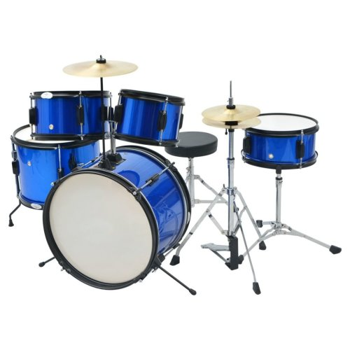 vidaXL Complete Drum Kit Powder-coated Steel Blue Junior