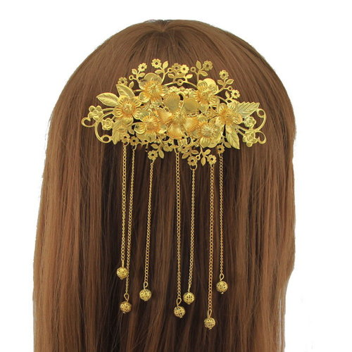 Exotic Allure Chinese Golden Hair Comb, Cheongsam Hair Accessory