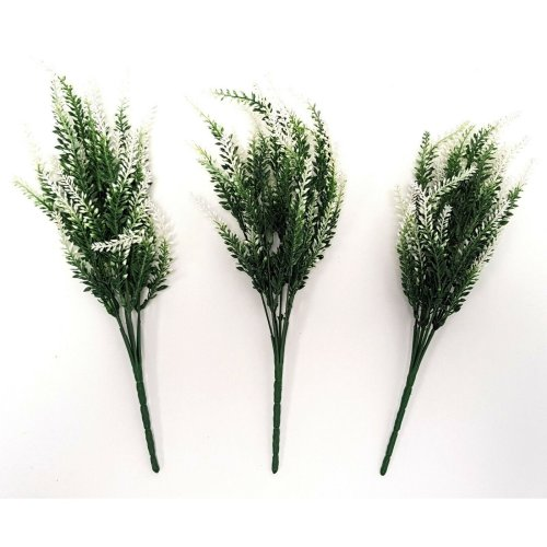 Set of 3 Artificial White & Green Astilbe Bushes - 35cm - Faux Flowers & Plants