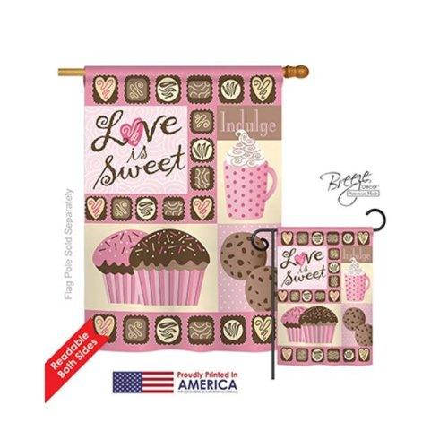 Valentines Love is Sweet 2-Sided Vertical Impression House Flag - 28 x 40 in.