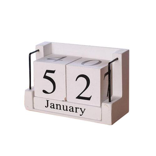 Wooden Permanent Calendar Creative Calendar Decoration For Home / Office -A4